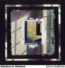 Window in Window fine art mixed media photograph that includes polaroid transfer, liquid emulsion, mat decoration titled Window in Window